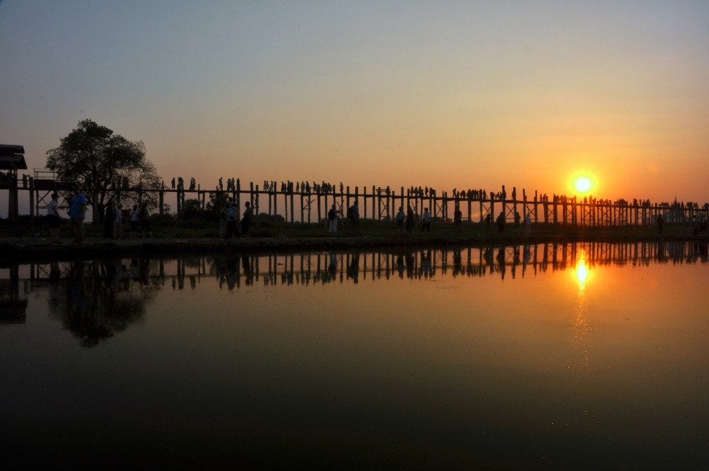 Sunset U Bein Bridge Amarapura Mandalay